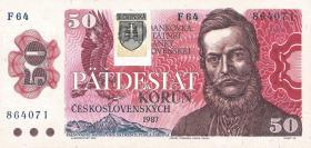 Slowakei / Slovakia P.16 50 Kronen (1993) mit Klebemarke (1)