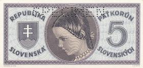 Slowakei / Slovakia P.08s 5 Korun 1945 Specimen (1)