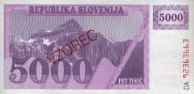 Slowenien / Slovenia P.10s1 5000 Tolarjew 1992 Specimen (1)