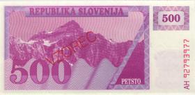 Slowenien / Slovenia P.08s1 500 Tolarjew 1992 Specimen (1)