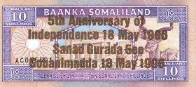Somaliland P.09 10 Shillings 1996 Gedenkausgabe (1)