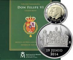 Spanien 2 Euro 2014 Thronwechsel + Medaille in Schatulle
