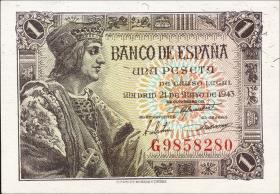 Spanien / Spain P.126 1 Peseta 1943 (1)