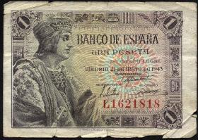 Spanien / Spain P.126 1 Peseta 1943 (4)
