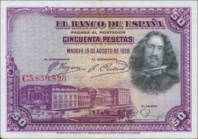 Spanien / Spain P.075b 50 Pesetas 1928 (1)