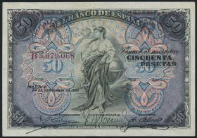 Spanien / Spain P.058 50 Pesetas 1906 (2)