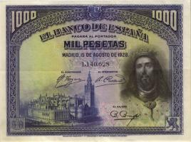 Spanien / Spain P.078 1000 Pesetas 1928 (2)
