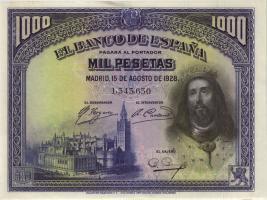 Spanien / Spain P.078 1000 Pesetas 1928 (2+)