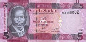 Süd Sudan / South Sudan P.11 5 Südsudanesische Pfund 2015 (1)
