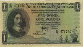 Südafrika / South Africa P.093d 1 Pound 1951 (Afrikaans) (3+)