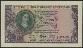 Südafrika / South Africa P.099 10 Pounds 1957 (Afrikaans) (2+)