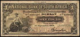 Südafrika / South Africa P.S392 1 Pound 1.9.1919 (3-)