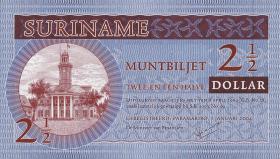 Surinam / Suriname P.156 2 1/2 Dollars 2004 (1)