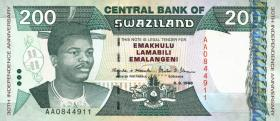 Swasiland / Swaziland P.28 200 Emalangeni 1998 (1) Gedenkbanknote
