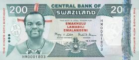 Swasiland / Swaziland P.35 200 Emalangeni 2008  Gedenkbanknote(1)