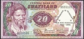 Swasiland / Swaziland P.07 20 Lilangeni 1981 Gedenkausgabe (1)