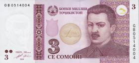 Tadschikistan / Tajikistan P.20 3 Somoni 2010 (1)