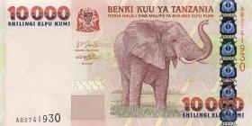 Tansania / Tanzania P.39 10000 Schilling (2003) Elefant