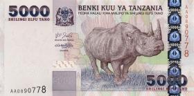 Tansania / Tanzania P.38 5000 Schilling (2003) Nashorn