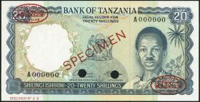 Tansania / Tanzania P.03s 20 Shillings (1966) Specimen (1)