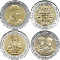 Thailand 10 Baht Bimetall-Gedenkmünzen Lot A