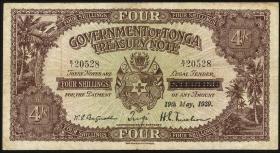 Tonga P.05b 4 Shillings 1939 (3-)