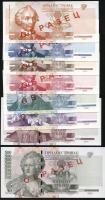 Transnistrien / Transnistria P.34s-41s 1 - 500 Rubel 2000-04 Specimen