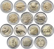 Türkei 13 x 1 Lira 2009-2015 Tiermotive