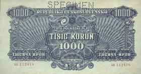 Tschechoslowakei / Czechoslovakia P.50s 1000 Kronen 1944 Specimen (1/1-)