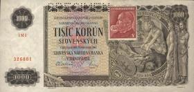 Tschechoslowakei / Czechoslovakia P.56s 1000 Kronen (1945) Specimen (2)