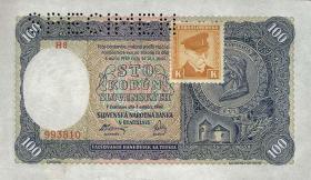 Tschechoslowakei / Czechoslovakia P.51s 100 Kronen 1945 Specimen (1)