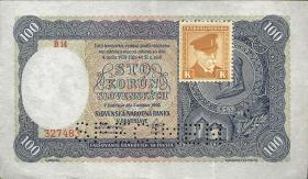 Tschechoslowakei / Czechoslovakia P.51s 100 Kronen 1945 Specimen (2)