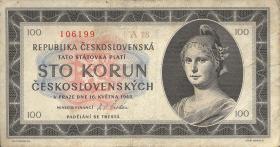 Tschechoslowakei / Czechoslovakia P.67a 100 Kronen 1945 (3)