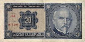 Tschechoslowakei / Czechoslovakia P.21a 20 Kronen 1926 (3)
