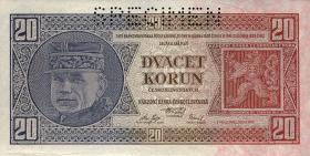 Tschechoslowakei / Czechoslovakia P.21s 20 Kronen 1926 Specimen (1)