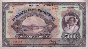 Tschechoslowakei / Czechoslovakia P.19s 5000 Kronen 1920 Specimen (1)
