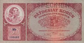 Tschechoslowakei / Czechoslovakia P.22s 50 Kronen 1929 Specimen (1)