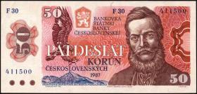 Tschechoslowakei / Czechoslovakia P.96a 50 Kronen 1987 (1)