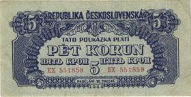 Tschechoslowakei / Czechoslovakia P.46a 5 Kronen 1944 (3)