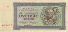 Tschechoslowakei / Czechoslovakia P.50A 2000 Kronen 1945 Specimen (1)