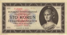 Tschechoslowakei / Czechoslovakia P.67a 100 Kronen 1945 (2)