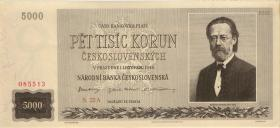 Tschechoslowakei / Czechoslovakia P.75s1 5000 Kronen 1945 Specimen (1/1-)
