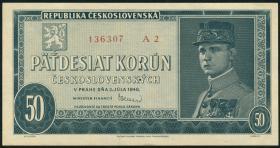 Tschechoslowakei / Czechoslovakia P.66s 50 Kronen 1948 Specimen (1)