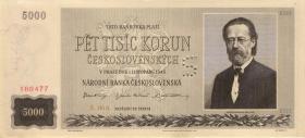 Tschechoslowakei / Czechoslovakia P.075s2 5000 Kronen 1945 Specimen (1)