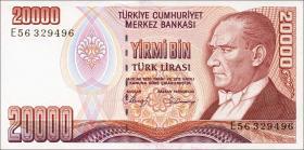 Türkei / Turkey P.201b 20000 Lira 1970 (1988) (1)