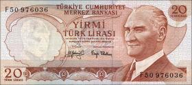 Türkei / Turkey P.187a 20 Lira 1970 (1974) (1)