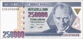 Türkei / Turkey P.207 250.000 Lira 1970 (1992) (1)