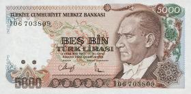 Türkei / Turkey P.198 5000 Lira 1970 (1990) (1)