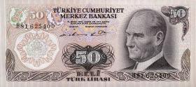 Türkei / Turkey P.188 50 Lira 1970 (1976) (1)