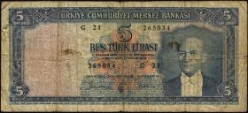 Türkei / Turkey P.154 5 Lira L. 1930 (1952) (4-)